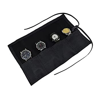 Hide & Drink Waterproof Waxed Canvas Travel Watch Roll Organizer Holds Up To 4 Watches Easy Carry On Watchlover Storage Travel & Commuter Essentials Handmade Includes 101 Year Warranty  Charcoal Black