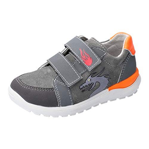 RICOSTA Jungen Sneaker Bobbi, Weite: Mittel (WMS),Blinklicht, sportschuh mid Cut Sneaker Klettverschluss atmungsaktiv,Patina/Graphit,32 EU / 13 Child UK