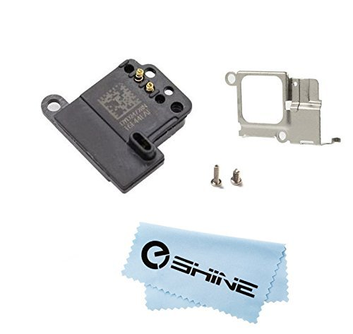 EShine Ear Speaker Earpiece Replacement + Bracket (Holder) + 2 Screws for Iphone 5C A1456, A1507, A1516, A1529, A1532 (ALL CARRIERS) + EShine Cloth