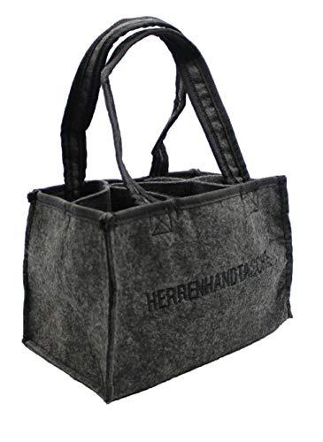 Hillfield® Filz Herrentasche Bottlebag Herrenhandtasche, Filztasche, Flaschentasche, Flaschenkorb, Flaschenträger für 6 Flaschen bis 0,5l, anthrazit (1 Stück, Filz)