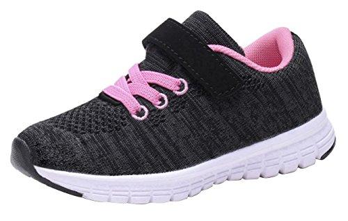 Umbale Girls Fashion Sneakers Comfort Running Shoes(Toddler/Kids) (6 M US Toddler, New Black/Pink)