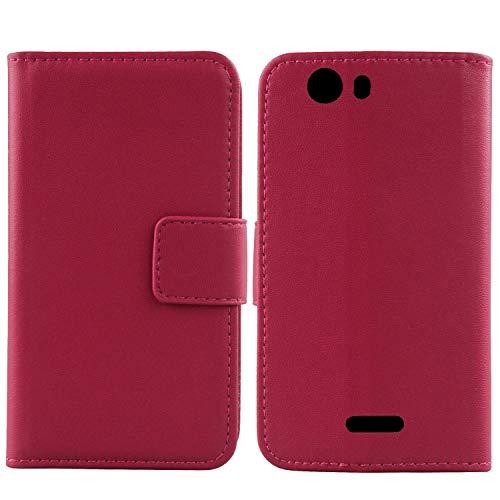 Gukas Design Echt Leder Tasche Für Wiko Ridge Fab 4G Hülle Handy Flip Brieftasche mit Kartenfächer Schutz Protektiv Genuine Premium Hülle Cover Etui Skin Shell (Rosa)