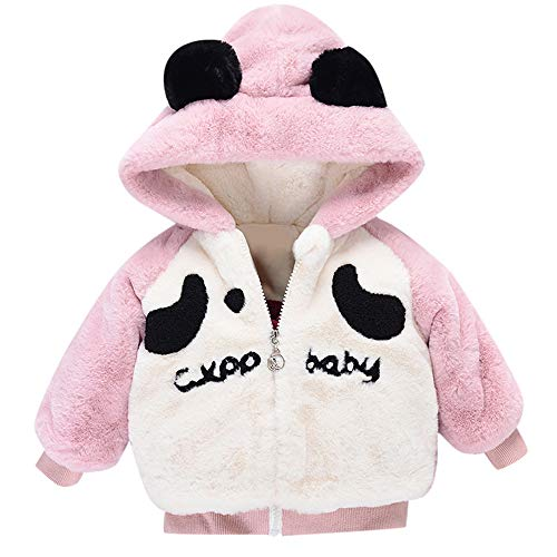 ODJOY-FAN Baby Junge Karikatur Ohren Hooded Mantel, Herbst Winter Mit Kapuze Baumwollmantel Samt Verdicken Outerwear Jacke Dick Warm Kapuzenmantel Casual Hoodies (Rosa,5)