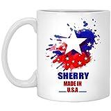 Nuestro nombre es Tazas de barro para niños - JEREZ Hecho en acuarela de la bandera de EE. UU. - Tazas de té de café personalizadas para él, ella en el día del padre - Cerámica blanca