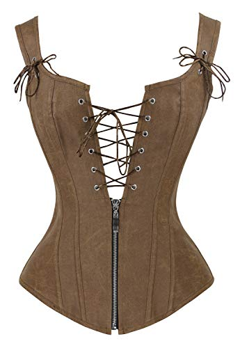 Charmian Women's Renaissance Lace Up Vintage Boned Bustier Corset with Garters Brown Small