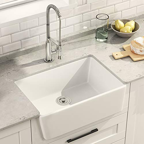 DeerValley DV-1K116 White 24 Inch Farmhouse Apron-Front Kitchen Sink Single Deep Bowl White Ceramic Porcelain Sink,Small Kitchens Sinks