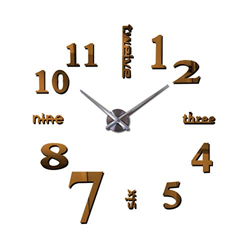 LAMEIDA Reloj de Pared de Espejo 3D DIY Reloj Digital de Pared...