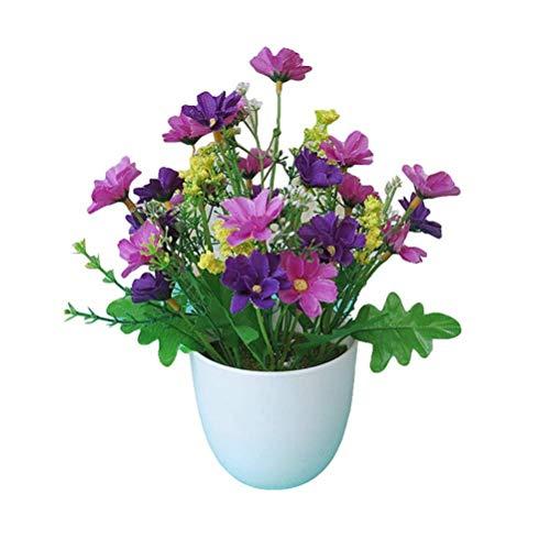 SuperglockT Kunstblumen im Topf Kunstliche Orchidee Seidenblumen Kunstbonsai Baum Kunstbaum Mini Kunstpflanzen Zimmerpflanzen Hochzeit Deko (Lila)