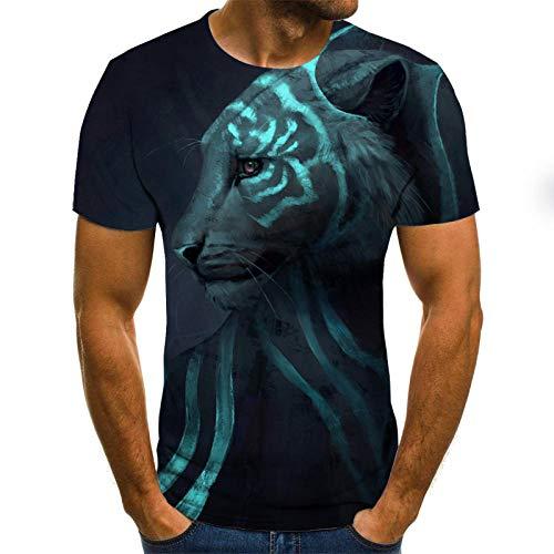 t-Shirt 3D Streamer Fluoreszierende Tiger T-Shirt Herren 3DT Shirt kurzärmeligen Rundhals Digitaldruck lässig kurzärmelig-Color_S