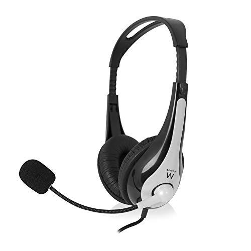 Ewent Ew3562 Cuffia Professionale con Microfono per PC con Controllo Volume, Notebook, Laptop, Doppio Jack 3.5 mm (1Xaudio 1Xmic), Auricolari Imbottiti, Cavo 2 m