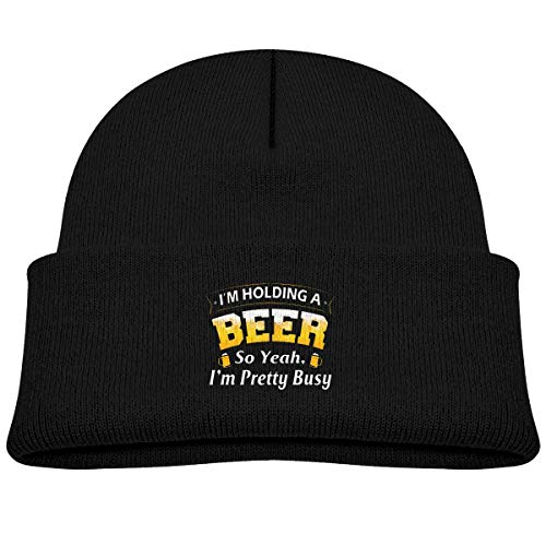 NR I'm Holding A Beer So Yeah I'm Pretty Busy Bonnet tricoté pour bébé garçon et fille