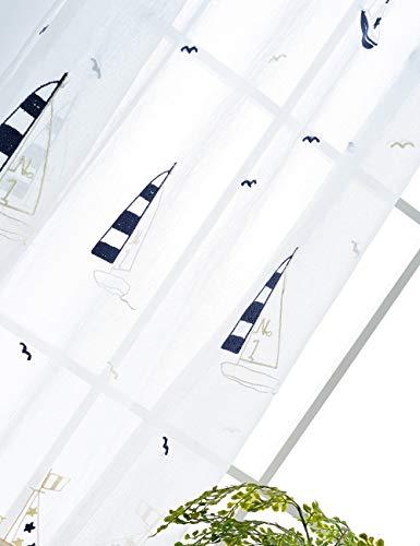 Lactraum Vorhänge Kinderzimmer Junge Maritim Transparent Weiss Segelboot mit Ösen Voile Bestickt 145 x 245cm