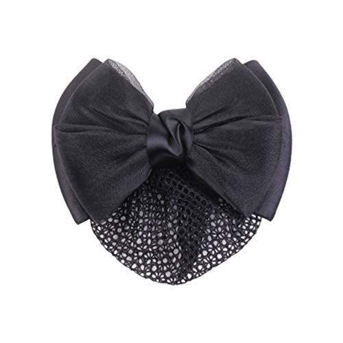 Minkissy Chignon Couvre Snood Net Barrette Pince à Cheveux Arc Cheveux Net Accessoires Élastique pour Femmes Dames Madame (Noir)
