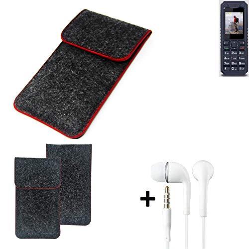 K-S-Trade Handy Schutz Hülle Für Bea-fon AL250 Schutzhülle Handyhülle Filztasche Pouch Tasche Hülle Sleeve Filzhülle Dunkelgrau Roter Rand + Kopfhörer