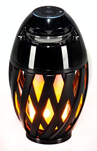 LED-Highlights Deko Lampe Feuer Fackel Garten Leuchte 10 x 24 cm Bluetooth Lautsprecher Akku kabellos Flammeneffekt Stimmungslicht Tischlampe