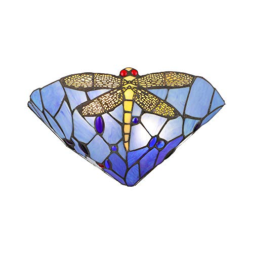 BAYCHEER Farbenfrohe Glas Wandleuchte LIBELLE Muster Glaslampe im Tiffany-Stil