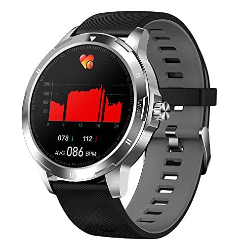 QFSLR Reloj Inteligente Rastreador Ejercicios Frecuencia Cardíaca Presión Arterial Control De Temperatura del Sueño Contador De Actividad Rastreador IP67 Impermeable Android iOS Smartwatch,Gris