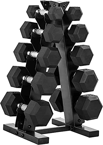 WF Athletic Supply 5-25Lb Rubber Coated Hex Dumbbell Set with A Frame Storage Rack Non-Slip Hex Shape for Muscle Toning, Strength Building & Weight Loss - Multiple Choices Available
