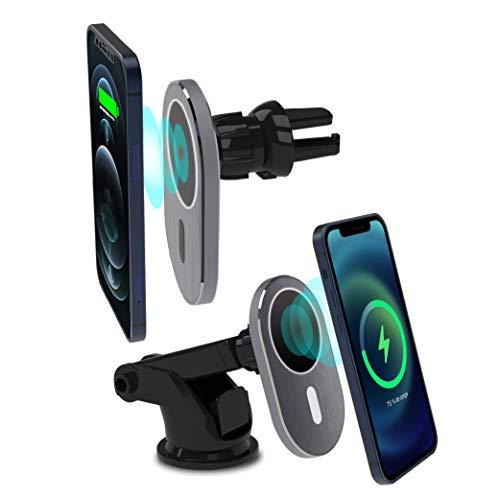 Cargador inalámbrico magnético de 15 W, Compatible con Soporte para Coche Magsafe [ventilación de Aire y salpicadero] Qi de Carga rápida inalámbrica para iPhone 12 Pro Max/12 Pro/12/12 Mini