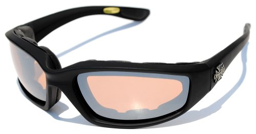 Night Driving Riding Padded Motorcycle Glasses 011 Black Frame with Yellow Lenses (Black - Amber...
