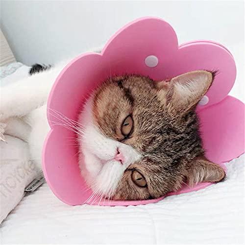 Pet Circle Collar Cat Sun Flower Toalla Paño de Fieltro Cuello de Gato Manga de recuperación, Rosa, L