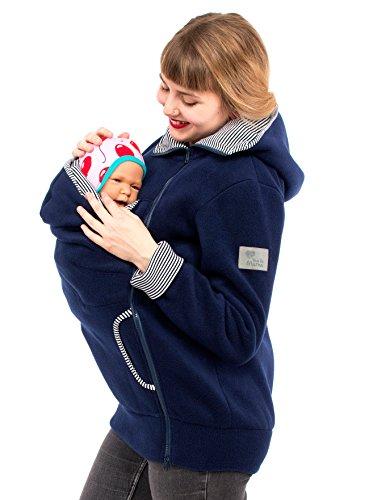 Viva la Mama Damen Tragejacke Fleece Winterjacke Mama Baby Fleecepullover für Tragetuch Umstandsjacke – AHOI Marine blau Streifen – XXL - 4