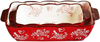 Porcelain Rectangle Baking Dish Set of 2, Floral Pizza Pie Cheese Serving Bakeware Oven Household Tableware(Baking dish set of 2)