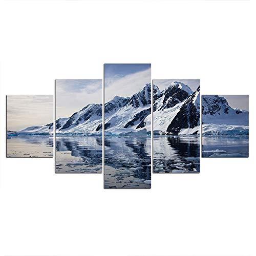 DGGDVP Cuadros enmarcados Pintura Cuadros modulares 5 Piezas Montaña de Nieve con Reflejo Arte de la Pared Póster Decoración del hogar Tamaño 1 con Marco