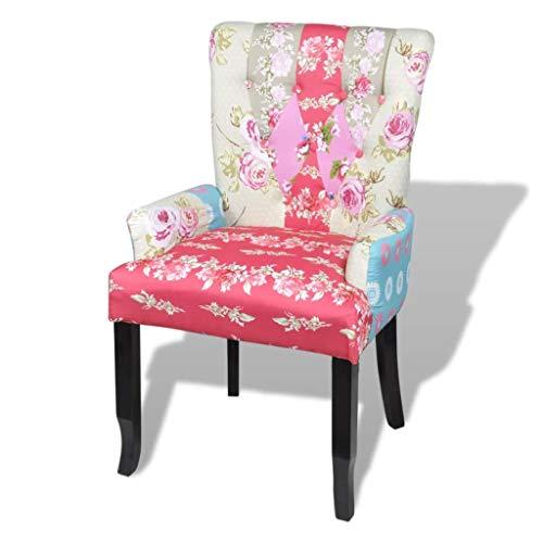 vidaXL Französischer Stuhl mit Patchwork-Design Stoff Bunt