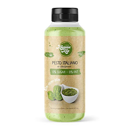 GymQueen Mamma Mia Zero Sauce | kalorienarm, ohne Fett & ohne Zucker | Zum Verfeinern von Gerichten oder als Salat-Dressing | vegetarisch und laktosefrei | Pesto Italiano Soße