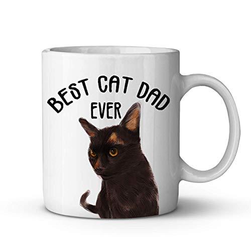 Best Cat Dad Ever Coffee Mug - Taza de café con diseño divertido de gato Havana Brown para papás amantes de los gatos - Taza de té de cerámica ideal para papá, hombre, padre, amigos, cumpleaños o Navi
