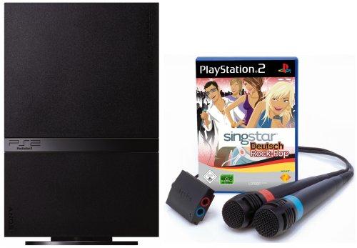 PlayStation 2 - PS2 Konsole, black inkl. SingStar Deutsch Rock/Pop + 2 Mikrofone