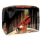 Kit de Maquillaje Música violín Neceser Makeup Bolso de Cosméticos Portable Organizador Maletín para Maquillaje Maleta de Makeup Profesional 18.5x7.5x13cm
