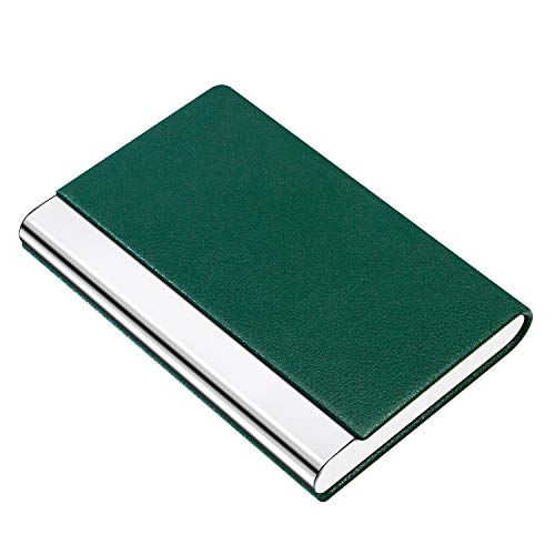 PADIKE Business Name Card Holder Luxury PU Leather & Stainless Steel Multi Card Case,Business Name Card Holder Wallet Credit Card ID Case/Holder for Men & Women (Green)