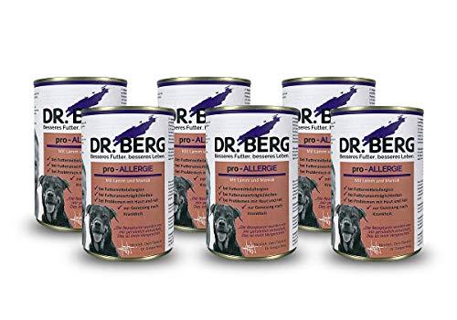 Dr. Berg pro-ALLERGIE: Nassfutter für Hunde: Diätfutter bei Futtermittelallergie & Hautproblemen (6 x 400 g)