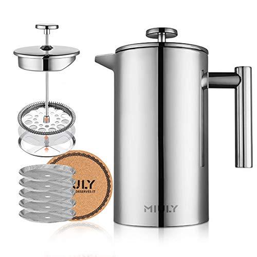 Miuly Kaffeebereiter 1 Liter French Press, Doppelwandig Edelstahl Kaffeepresse Caffettiera, Kaffeekanne mit 5 Edelstahlfilter, Silber 1000ml (8 Tassen)