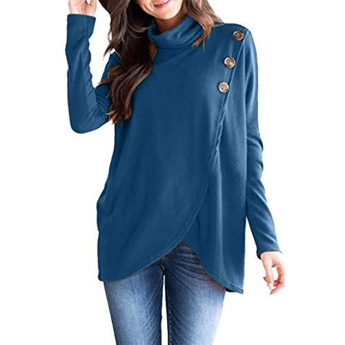 VEMOW Damen Rollkragenpullover Solide Langarm Unregelmäßig Warm Kabel Gestrickt Lose Button Wrap Asymmetrischer Hem Button Sweatshirt Bluse Tops Bluse Shirt(Blau, 36 DE/S CN)