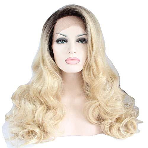 LLLKKK Peluca peluca onda grande oro rizado pelo frente encaje fibra química media mano gancho medio máquina tejer pelo conjuntos europeo y moda