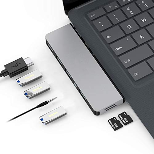 Eletrand Portable Docking Station for Microsoft Surface Laptop 3, USB 3.0 Hub Multifunctional Adapter with 3 USB 3.0 Ports (5Gbps), Type C Male, 3.5mm Audio Port, 4K HDMI Port and 2 TF Card Reader