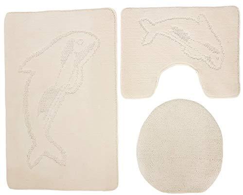 Ilkadim Delphin Badgarnitur 3 TLG. Set 55x85 cm einfarbig, WC Vorleger mit Ausschnitt für Stand-WC (Creme Stand-WC)