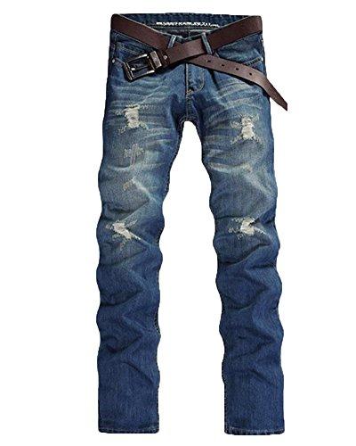 Herren Slim Fit Denim Destroyed-Look Zerrissen Löcher Bikerjeans Skinny Jeans Hose Mit Stretch Hellblau 30