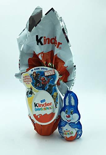IDEA PASQUA - Uovo Kinder Marvel 150gr + 1 Coniglietto Per Lui 75 gr