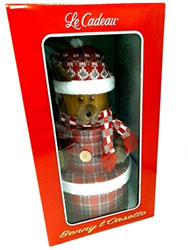 Cesto Natalizio con torta al cioccolato, Confezione Regalo Natalizia Le Cadeau Benny L'orsetto di Natale. Babbo Natale regalo