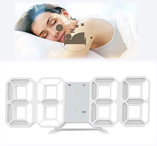 Despertador digital LED 3D reloj de pared 12h/24h Tiempo de visualización con alarma y 3 niveles de luminosidad modo noche para Home Kitchen Office (blanco)