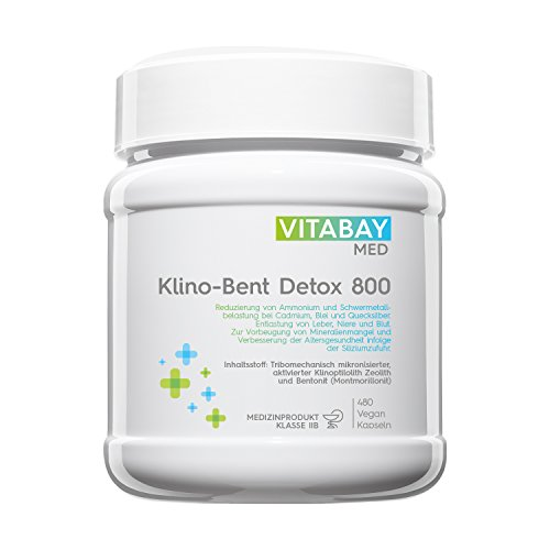 Vitabay Klino-Bent DETOX 800 • 480 vegane Kapseln • Zeolith/Bentonit • Zur Entgiftung