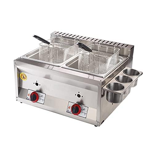 Friteuse à gaz professionnelle, friteuse à gaz à double cylindre 20L Friteuse à croustilles de poulet en acier inoxydable avec cuillère à panier pour la cuisine commerciale de la maison du restauran