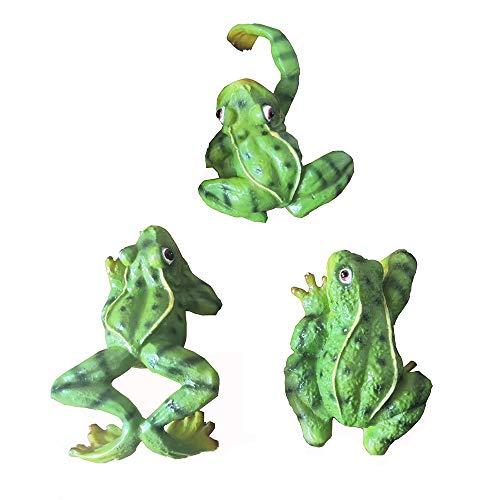 zeng Statuina di Rana da Giardino, Resistente alle intemperie, per Balcone, Patio, Stagno, Resina Sintetica, Ornamento di rospo Decorativo (Cartoon Rimbs Frogs 3 Pezzi)