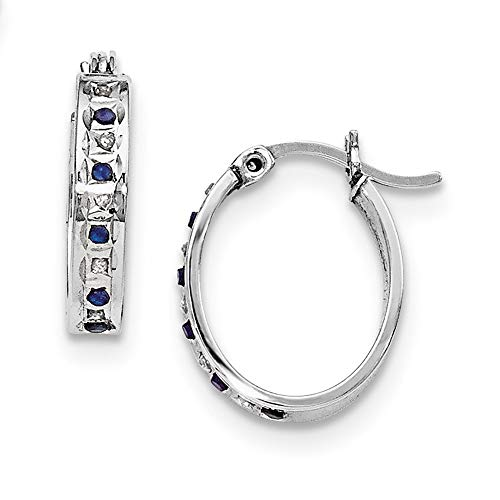 925 Sterling Silver Diamond Mystique Platinum Plated Dia sapphire Oval Hoop Earrings Ear Hoops Set Gemstone Fancy Fine Jewelry For Women Mothers Day Gifts For Her
