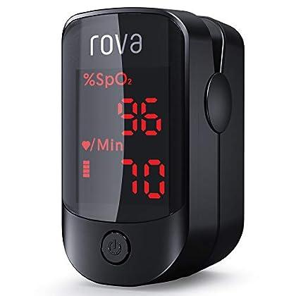 Oxímetro de Pulso Rova, Oxímetro de Dedo, Pulsioximetro de Dedo Portátil con Pantalla OLED Omnidireccional, Monitor de…