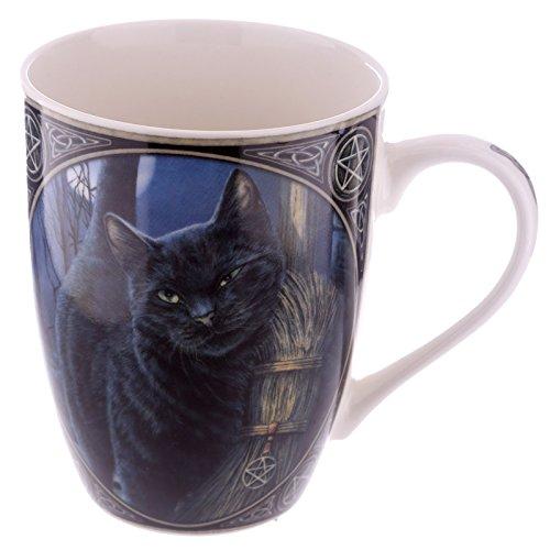 Tasse Becher Kaffeebecher Teetasse Schwarze Katze magischer Besen by Lisa Parker